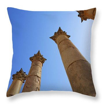 Columns At The Temple Of Artemis At Jerash Jordan Throw Pillow by Robert Preston