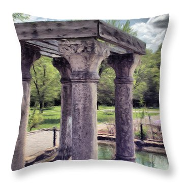 Columns In The Water Throw Pillow