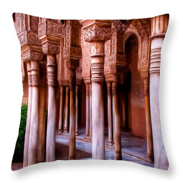 Columns Of The Court Of The Lions - Painting Throw Pillow