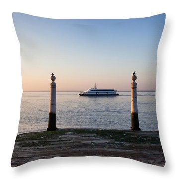 Columns Pier And Tagus River At Sunrise In Lisbon Throw Pillow