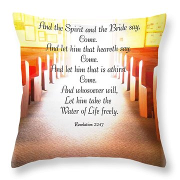 Come Throw Pillow by Debbie Portwood