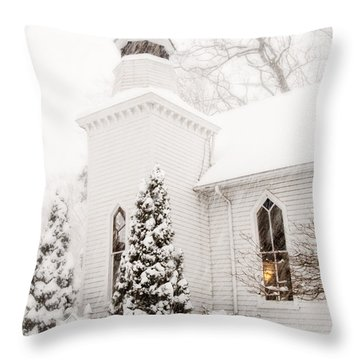 Throw Pillow featuring the photograph White Christmas In Maryland Usa by Vizual Studio