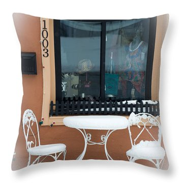 Come To Tea In Any Weather 1 - Spring - Snow Storm Throw Pillow by Andee Design