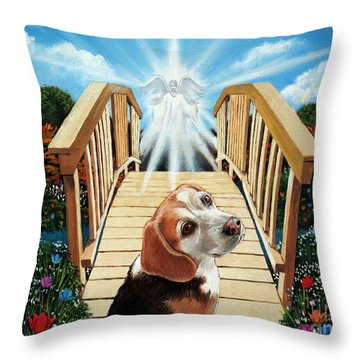 Come Walk With Me Over The Rainbow Bridge Throw Pillow