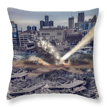 Throw Pillow featuring the photograph Comerica Park Asteroid by Nicholas  Grunas