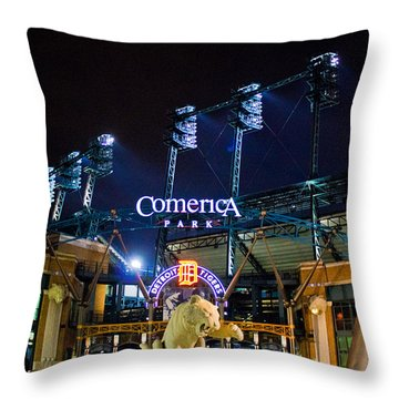 Comerica Park At Night  Throw Pillow by John McGraw