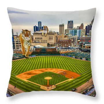 Throw Pillow featuring the photograph Comerica Park Detroit Mi With The Tigers by Nicholas  Grunas