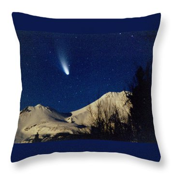 Comet Hale Bopp Rising Over Mount Shasta 01 Throw Pillow by Patricia Sanders