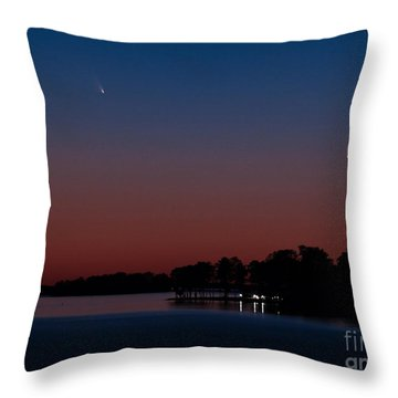 Comet Panstarrs And Crescent Moon Throw Pillow