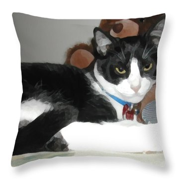 Comfy Kitty Throw Pillow by Jeanne A Martin