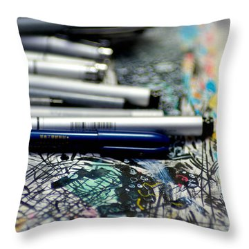 Comic Book Artists Workspace Study 1 Throw Pillow by Amy Cicconi