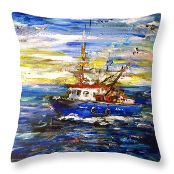 Throw Pillow featuring the painting Coming Back by Arturas Slapsys