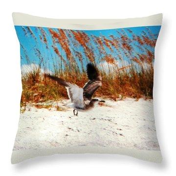 Windy Seagull Landing Throw Pillow