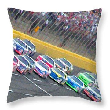 Coming Out Of Turn 4 Throw Pillow by Kenneth Krolikowski