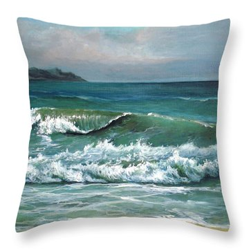 Throw Pillow featuring the painting Coming Wave by Mikhail Savchenko