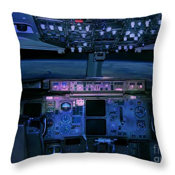Commercial Airplane Cockpit By Night Throw Pillow