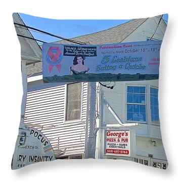 Throw Pillow featuring the photograph Commercial Street Ptown by Brenda Pressnall