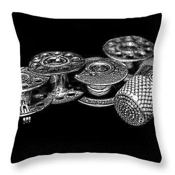 Commercial Vintage Bobbins On Black Throw Pillow