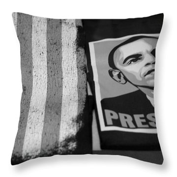 Commercialization Of The President Of The United States In Balck And White Throw Pillow by Rob Hans