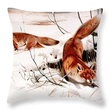 Common Fox In The Snow Throw Pillow by Friedrich Wilhelm Kuhnert