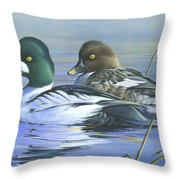 Throw Pillow featuring the painting Common Goldeneye by Mike Brown