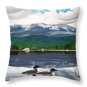 Common Loon On Togue Pond By Mount Katahdin Throw Pillow
