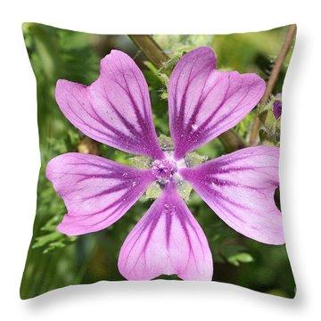 Common Mallow Flower Throw Pillow by George Atsametakis