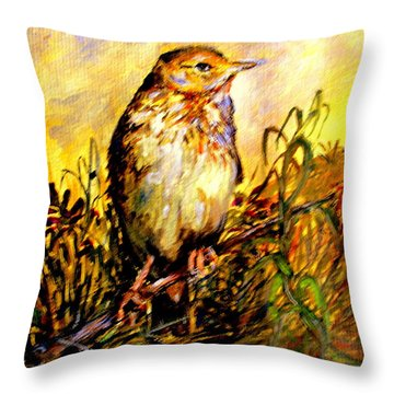 Common Pipit Throw Pillow