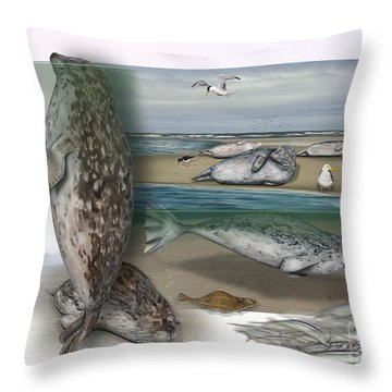 Throw Pillow featuring the painting Common Seal - Harbour Seal - Harbor Seal - Habitat - Nature Interpretive Panel - Zoo Tafel  by Urft Valley Art