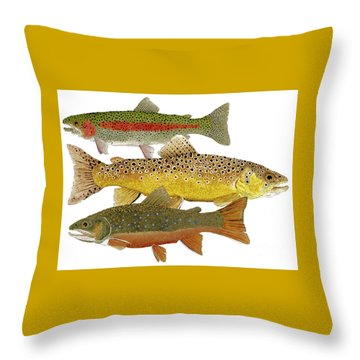 Throw Pillow featuring the painting Common Trout  Rainbow Brown And Brook by Thom Glace
