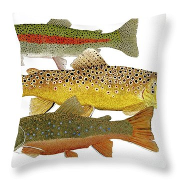Common Trout  Rainbow Brown And Brook Throw Pillow