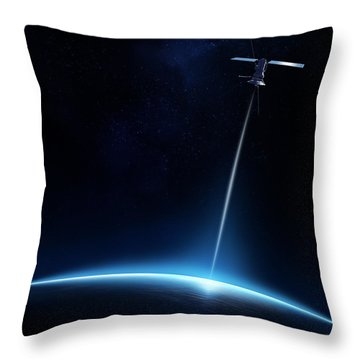Communication Between Satellite And Earth Throw Pillow
