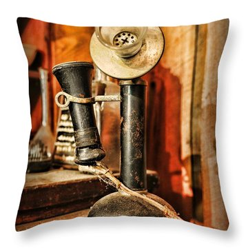 Communication - Candlestick Phone Throw Pillow by Paul Ward