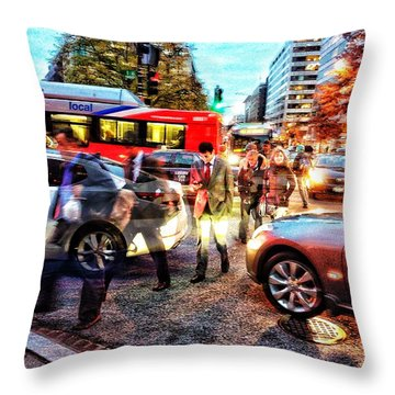 Commuter Ghosts At Rushour Throw Pillow by Jim Moore