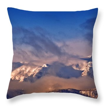 Comox Glacier And Morning Mist Throw Pillow
