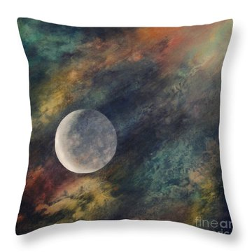 Throw Pillow featuring the painting Companion Moon  by Ursula Freer