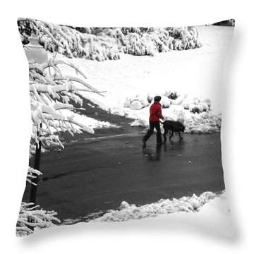 Companions Walking On Christmas Morning Throw Pillow