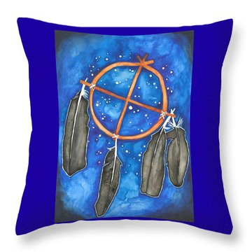 Compass Dreamcatcher Throw Pillow by Cat Athena Louise
