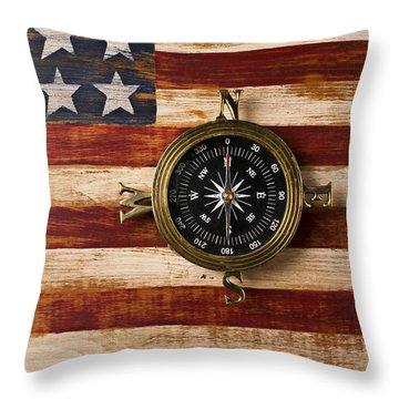 Compass On Wooden Folk Art Flag Throw Pillow by Garry Gay