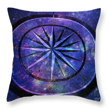 Compass With A Galaxy Throw Pillow
