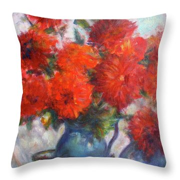 Complementary - Original Impressionist Painting - Still-life - Vibrant - Contemporary Throw Pillow