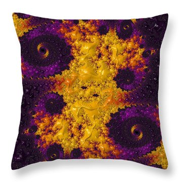 Complimentary - Yellow And Purple Throw Pillow by Heidi Smith