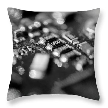 Computer Board Black And White Throw Pillow