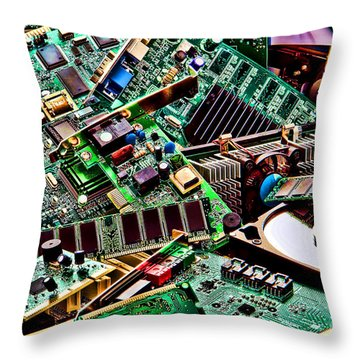 Throw Pillow featuring the photograph Computer Parts by Olivier Le Queinec