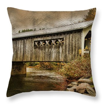 Comstock Bridge 2012 Throw Pillow by Deborah Benoit
