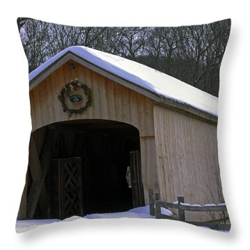 Comstock Covered Bridge Winter 2015 1 Throw Pillow