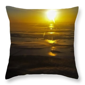 Conanicut Island And Narragansett Bay Sunrise II Throw Pillow