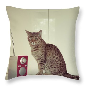Concentrated Listener Throw Pillow