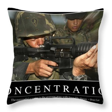 Concentration Inspirational Quote Throw Pillow by Stocktrek Images