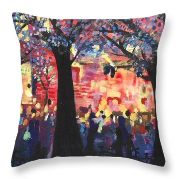 Concert On The Mall Throw Pillow by Leela Payne